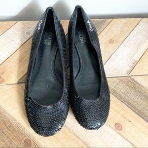 Coach Black Sequin Shimmer Flats
